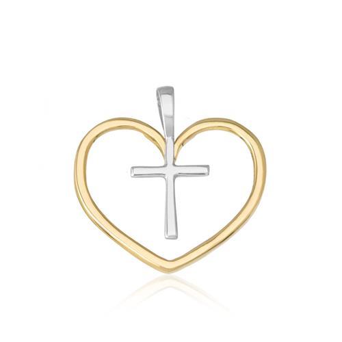 Pingente Coração Cristão em Ouro Amarelo