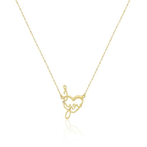 Corrente com Pingente I Love You com 1 Diamante em Ouro Amarelo