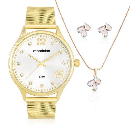 Relógio Feminino Mondaine Analógico 76608LPMKDE1 Dourado com Cristais