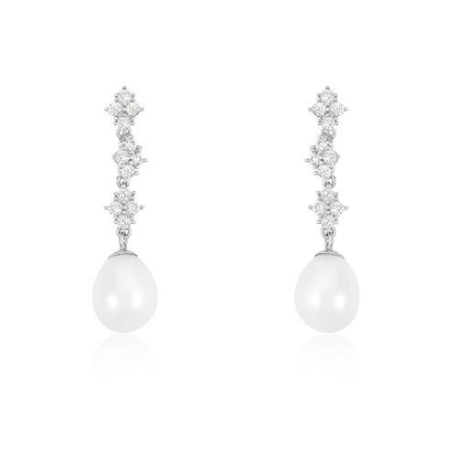 Par de Brincos Suspensos com 24 Diamantes e Pérolas, em Ouro Branco 42395