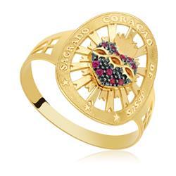 Anel Sagrado Coração com 11 Rubis, em Ouro Amarelo