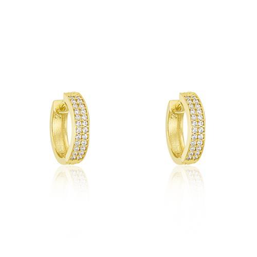 Par de Brincos Argolas Pavê com 48 Diamantes, em Ouro Amarelo