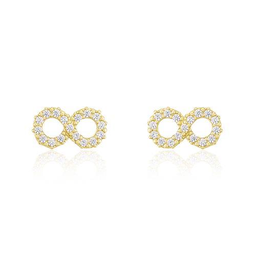 Par de Brincos Infinito com 32 Diamantes, em Ouro Amarelo