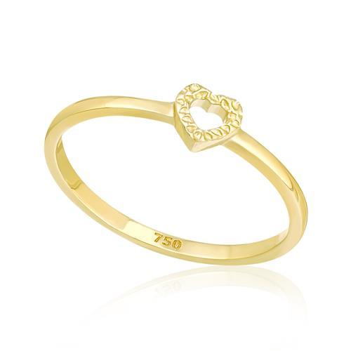 Anel de Falange modelo Coração, em Ouro Amarelo