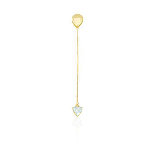 Pingente Gota com Topázio Azul Suspenso, em Ouro Amarelo