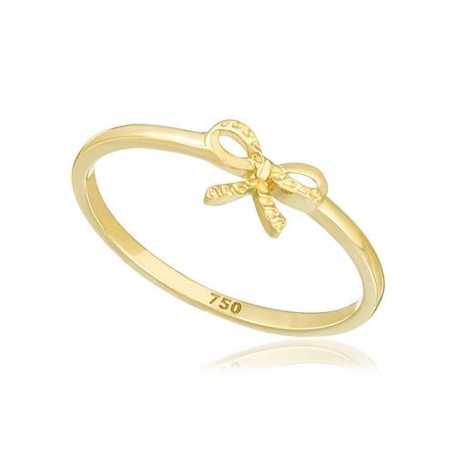 Anel de Falange modelo Laço com efeito diamantado, em Ouro Amarelo