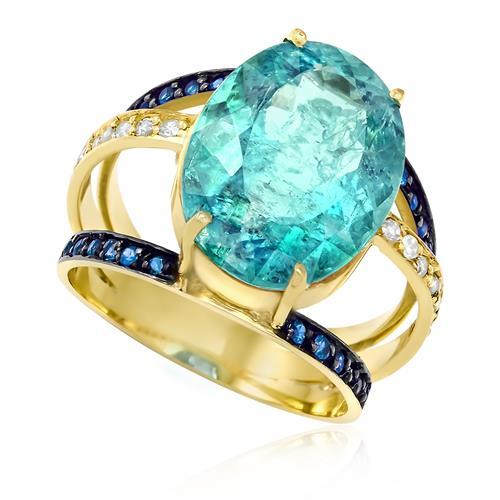 Anel Aro Triplo com Água Marinha de 9,5 Cts e Safiras e Diamantes, em Ouro Amarelo