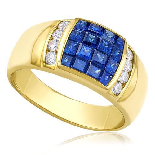 Anel com 16 Safiras e 8 Diamantes, em Ouro Amarelo