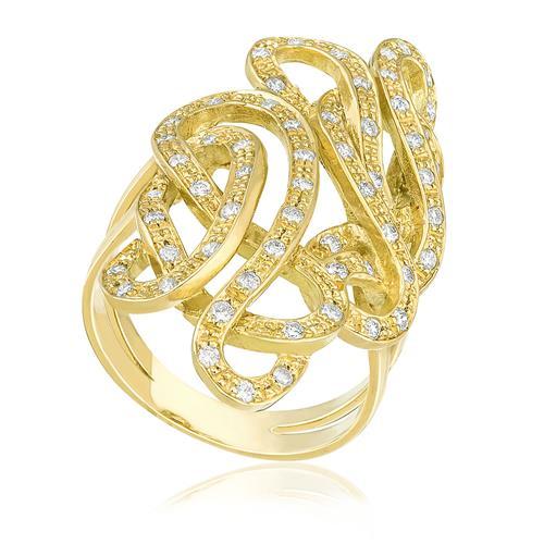 Anel Trançado trabalhado com Diamantes, em Ouro Amarelo