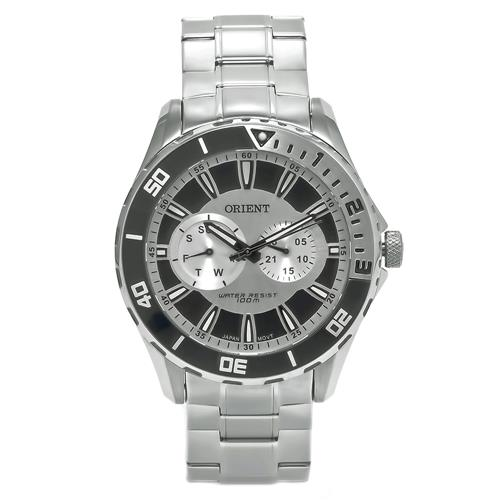 Relógio Masculino Orient Cronograph analógico em aço com catraca giratória