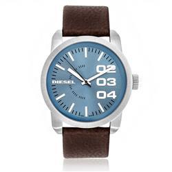 Relógio Masculino Diesel Analógico IDZ1512/Z Couro Marrom fundo Azul