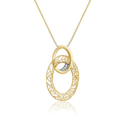 Gargantilha com Pingente Argolas Ovais Vazadas com 3 Diamantes, em Ouro Amarelo