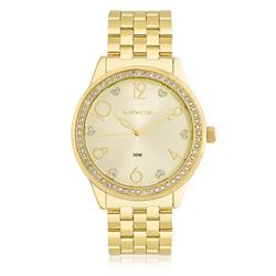 Relógio Feminino Lince Analógico LRG4370L K168 Dourado com Cristias e Corações