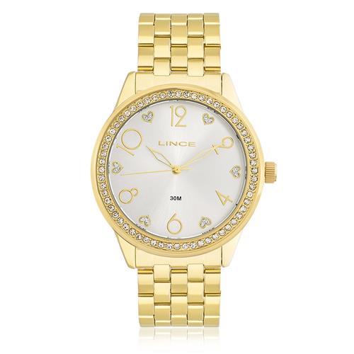 Relógio Feminino Lince Analógico LRG4370L K169 com cristais e fundo prateado