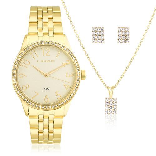 Relógio Feminino Lince Analógico LRGJ048L KT08 Dourado com Cristais