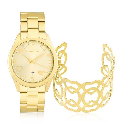 Relógio Feminino Lince Analógico LRG4392L K195 Kit com Bracelete Corações