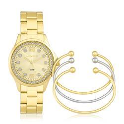 Relógio Feminino Lince Analógico LRG4393L K198 com Cristais - Kit Braceletes