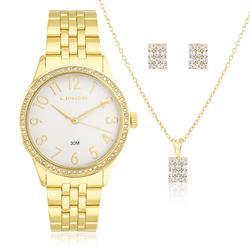 Relógio Feminino Lince Analógico LRGJ048L KT09 Dourado com Cristais
