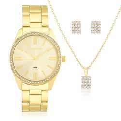 Relógio Feminino Lince Analógico LRG4341L KT06 Dourado com Cristais