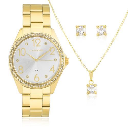 Relógio Feminino Lince Analógico LRG4283L KT34 Aço Dourado com Cristais