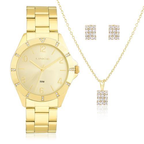 Relógio Feminino Lince Analógico LRG4367L K186 Kit com Colar e Par de Brincos