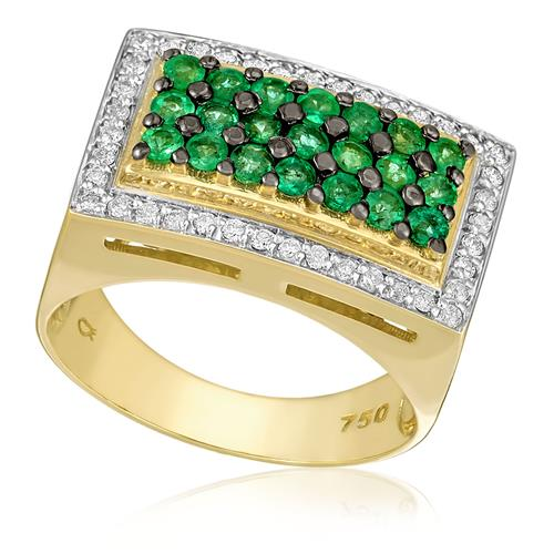 Anel com 40 Diamantes e 21 Esmeraldas totalizando 70 pts., em Ouro Amarelo