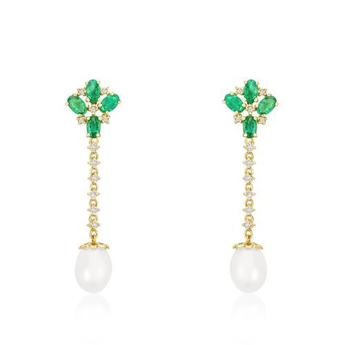 Par de Brincos com Pérolas, 22 Diamantes e 8 Esmeraldas, em Ouro Amarelo