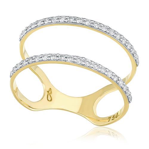 Anel Aro Duplo com 40 Diamantes, em Ouro Amarelo