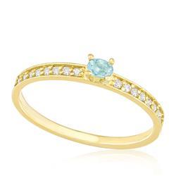Anel com Diamantes totalizando 16 pts. e Turmalina Paraíba de  10 pts., em Ouro Amarelo