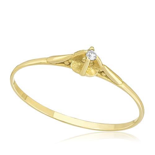 Anel Solitário com Diamante de 2 Pts, em Ouro Amarelo