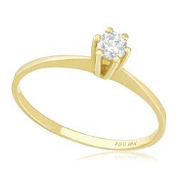Anel Solitário com Diamante de 18 Pts, em Ouro Amarelo