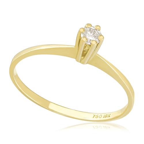 Anel Solitário com Diamante de 12 Pts, em Ouro Amarelo