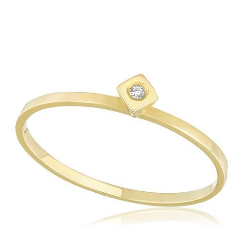 Anel Solitário com Diamante de 3 Pts Cravação Inglesa, em Ouro Amarelo