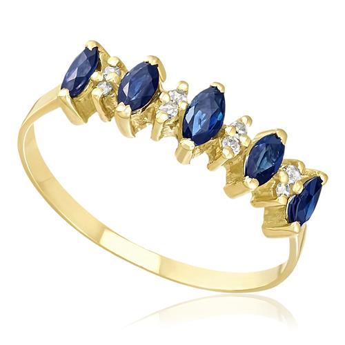 Meia Aliança com 5 Safiras Navetes e 8 Diamantes, em Ouro Amarelo 42768