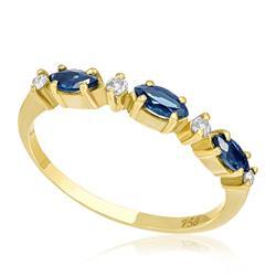 Meia Aliança com 3 Safiras e 4 Diamantes, em Ouro Amarelo