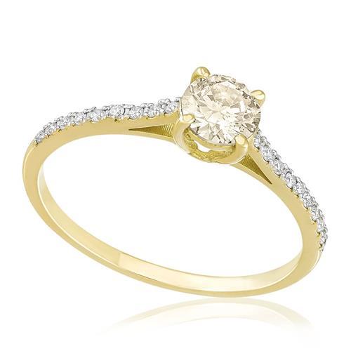Anel com 18 Diamantes e Diamante Central de 55 pts., em Ouro Amarelo