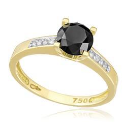 Anel com 8 Diamantes Laterais e Diamante Negro Central de 1,6 Cts, em Ouro Amarelo