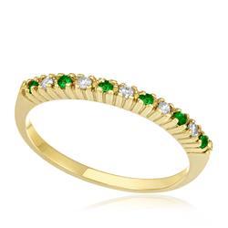 Meia Aliança com 6 Esmeraldas e 5 Diamantes, em Ouro Amarelo