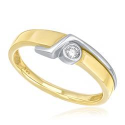 Anel Solitário com Diamante de 6 Pts, em Ouro Amarelo com detalhes em Ouro Branco