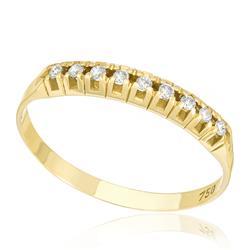 Meia Aliança com Cravação Cartier e 9 Diamantes, em Ouro Amarelo