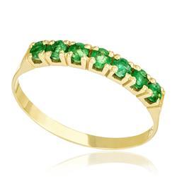 Meia Aliança com Cravação Cartier e 7 Esmeraldas, em Ouro Amarelo