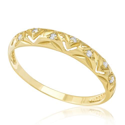Anel com Efeito Ondulado e Diamantes, em Ouro Amarelo