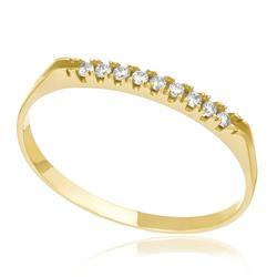 Meia Aliança com 9 Diamantes, em Ouro Amarelo