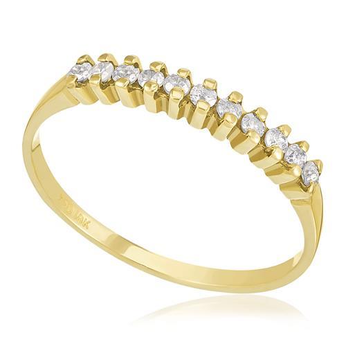 Meia Aliança com 11 Diamantes, em Ouro Amarelo