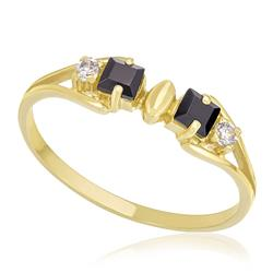 Anel com 2 Safiras e 2 Diamantes, em Ouro Amarelo