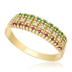 Meia Aliança Tripla com Rubis, Diamantes e Esmeraldas, em Ouro Amarelo