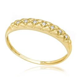 Meia Aliança com 7 Diamantes, em Ouro Amarelo