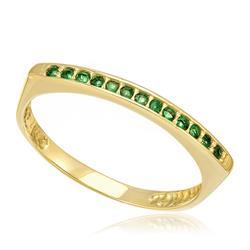 Meia Aliança com 13 Esmeraldas, em Ouro Amarelo