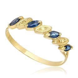 Meia Aliança com 4 Safiras Navetes e efeito Diamantado, em Ouro Amarelo
