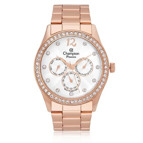 Relógio Feminino Champion Passion Analógico CH38404Z Aço Rose com cristais